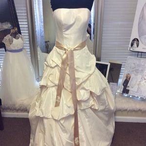 Dresses & Skirts - Strapless Champagne Taffeta Ball Gown